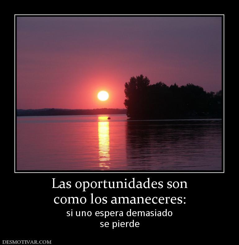 Las oportunidades son como los amaneceres: si uno espera demasiado se ...
