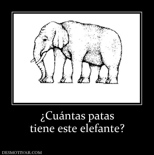 Cuántas patas tiene este elefante?