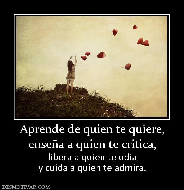 Aprende de quien te quiere, enseña a quien te critica, libera a quien ...