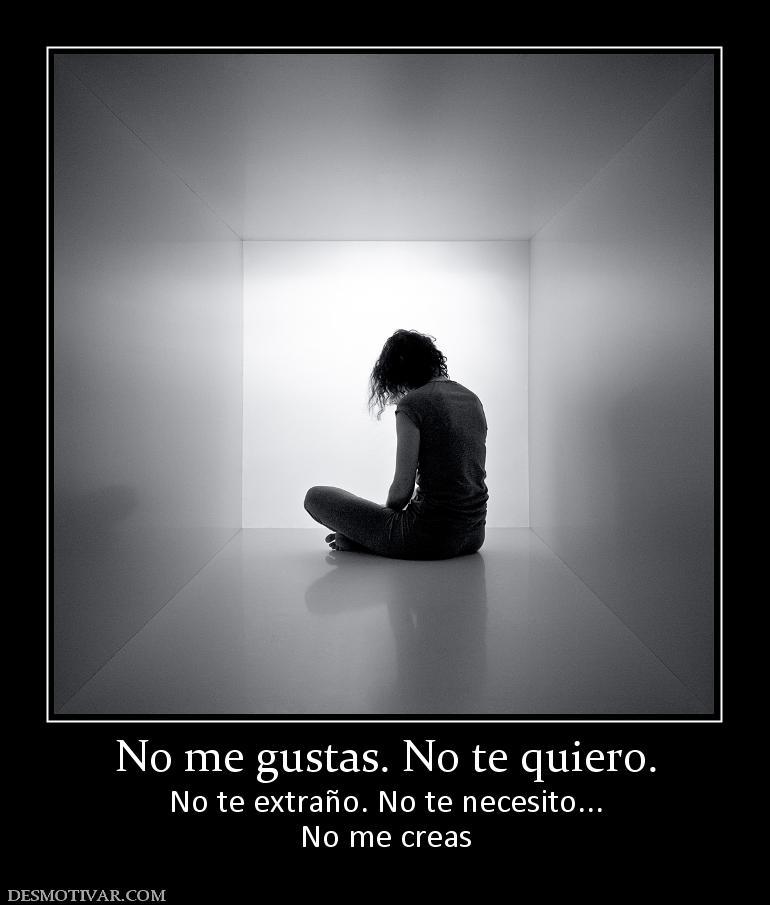 No me gustas. No te quiero. No te extraño. No te necesito... No me ...