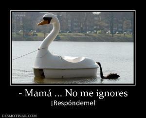- Mamá ... No me ignores ¡Respóndeme!